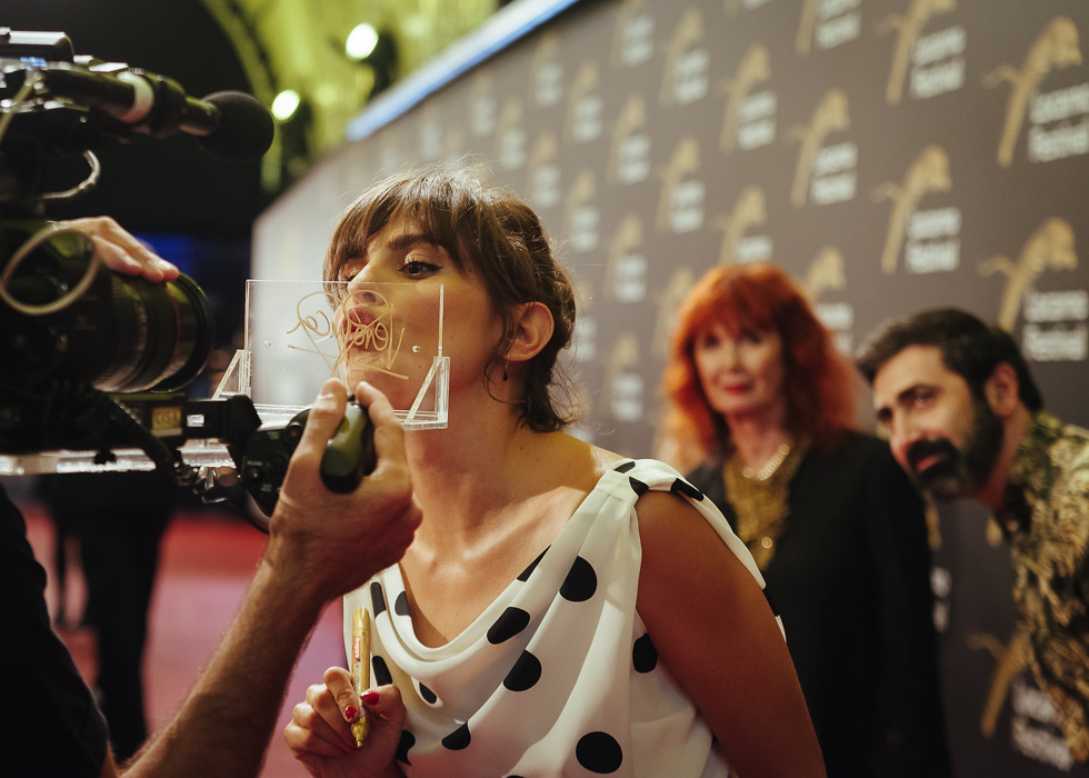Verónica Echegui, actress with Sabine Azéma and Yuri Ancarani looking on